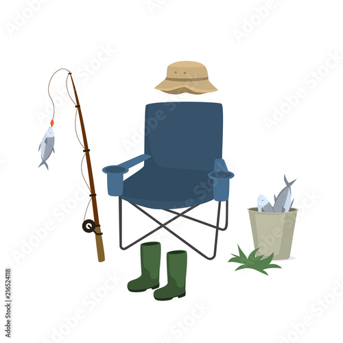 Aluminium Boerderij fishing items set , vector graphic