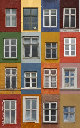 Foto Murales Colorful Copenhagen windows