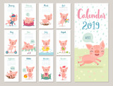 Calendar 2019. Cute monthly calendar with cheerful piggies. Hand drawn style characters.