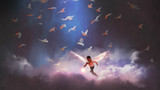 boy with angel wings holding a glowing ball running through group of birds, digital art style, illustration painting - 216533958