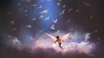boy with angel wings holding a glowing ball running through group of birds, digital art style, illustration painting © grandfailure