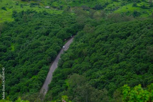 Foto Spatwand Zomer Lush green monsoon nature landscape mountains, hills, Purandar, Pune, Maharashtra, India
