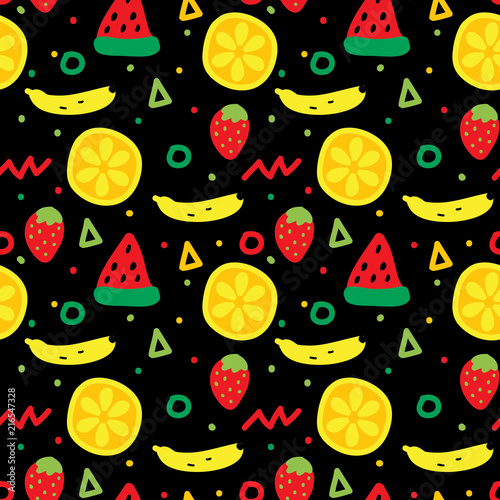 Cute fruits seamless pattern - 216547328