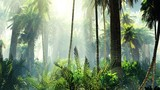 Tropical jungle in the fog. Palms in the morning.  - 216549725