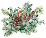 Watercolor bouquet with eucalyptus leaves, cone, fir branch and berries. Hand painted green brunch, red and blue berries isolated on white background. Illustration for design, print or background. - 216549759