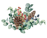Watercolor bouquet with eucalyptus leaves, cone and berries. Hand painted green eucalyptus brunch, red and blue berries isolated on white background. Illustration for design, print or background. - 216549789