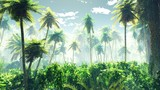 Tropical jungle in the fog. Palms in the morning.  - 216549943