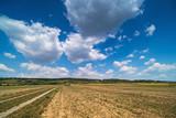 Landwirtschaftliche Landschaft mit Quellwolken