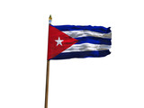 Cuba flag Isolated Silk waving flag of Republic of Cuba made transparent fabric with wooden flagpole golden spear on white background isolate real photo Flags of world countries 3d illustration