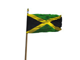 Jamaica flag Isolated Silk waving flag of Slovak Jamaica island made transparent fabric with wooden flagpole golden spear on white background isolate real photo Flags world countries 3d illustration