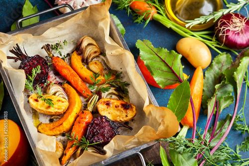 Leinwanddruck Bild Oven Roasted vegetables