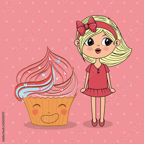 beautiful girl with cupcake kawaii characters vector illustration design - 216560557