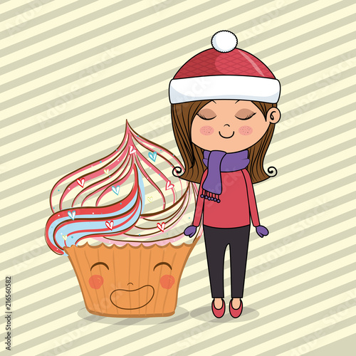 beautiful girl with cupcake kawaii characters vector illustration design - 216560582