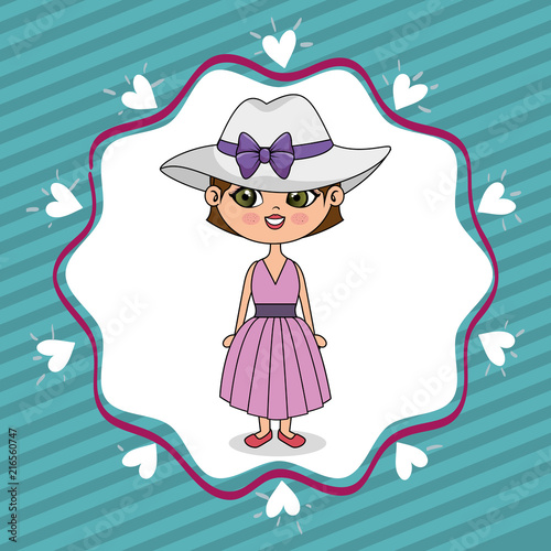 beautiful girl with hearts lace kawaii character vector illustration design - 216560747