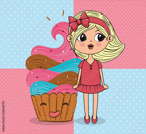 beautiful girl with cupcake kawaii characters vector illustration design - 216560774