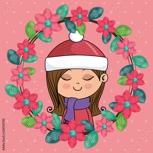 beautiful girl with floral frame kawaii character vector illustration design - 216560780