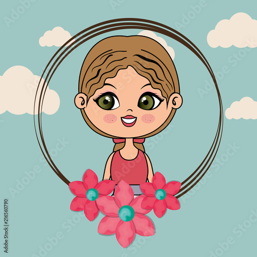 beautiful girl with floral frame kawaii character vector illustration design - 216560790