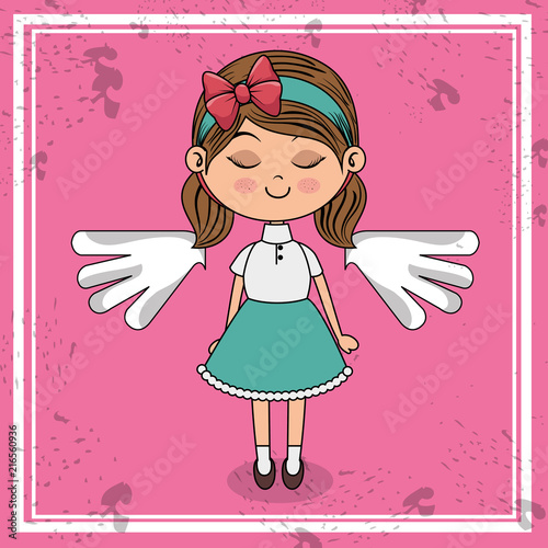 beautiful girl with wings kawaii character vector illustration design - 216560936