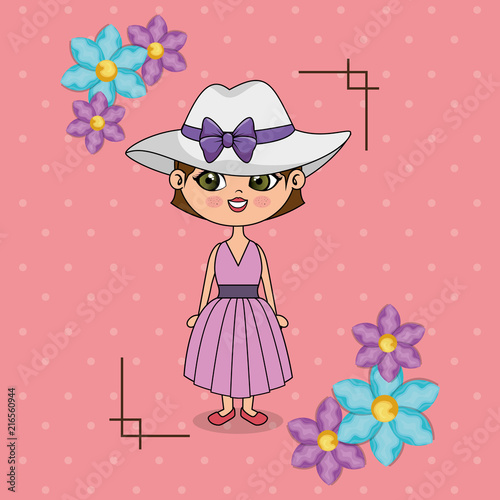 beautiful girl with floral frame kawaii character vector illustration design - 216560944