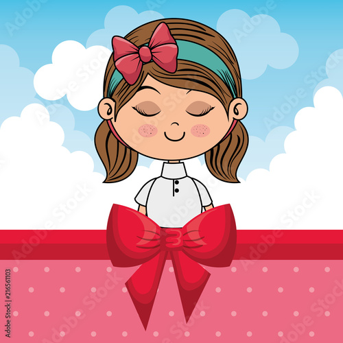 beautiful girl with clouds and bown ribbon vector illustration design - 216561103