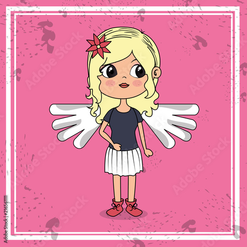 beautiful girl with wings kawaii character vector illustration design - 216561111