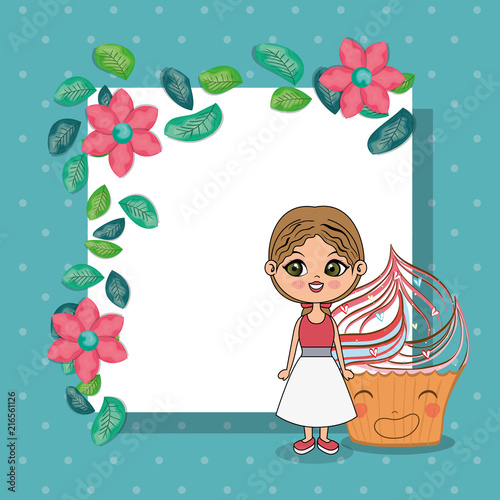 beautiful girl with cupcake kawaii characters vector illustration design - 216561126