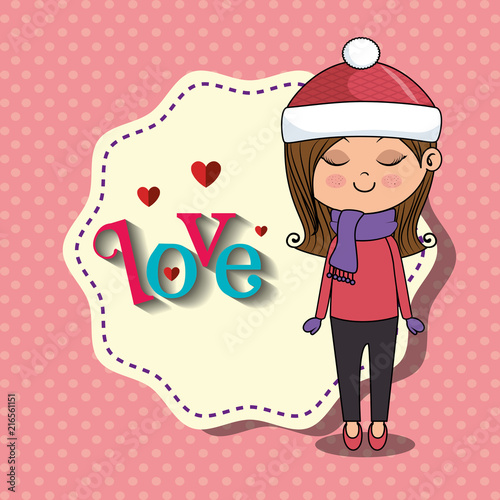 beautiful girl with love frame kawaii character vector illustration design - 216561151