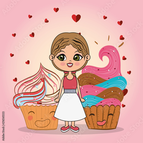 beautiful girl with cupcake kawaii characters vector illustration design - 216561333