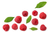 ripe raspberries with green leaf isolated on white background. top view
