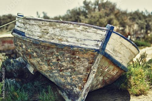 In de dag Schip forgotten wooden boat