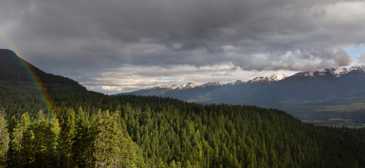 Columbia River Valley and Mountain range near Golden after the rain, British Columbia, Canada