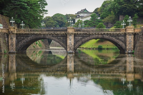 Foto Murales Meganebashi or Spectacles Bridge in Nagasaki, Japan.