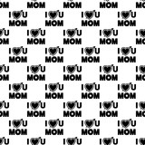 inscription love you mother icon in Pattern style
