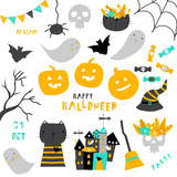 Set of cute Halloween icons. Vector hand drawn illustration. - 216574304
