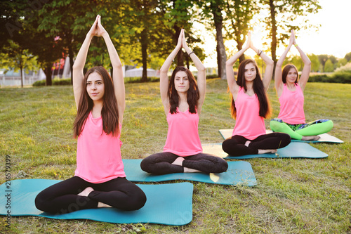 Naklejka A group of young slender, beautiful girls doing yoga or fitness on fresh grass against the backdrop of nature and sunset