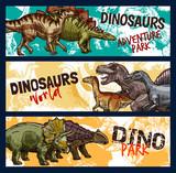 Dinosaur, dino and jurassic monster banners