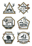 Hunting retro icons with animals and hunter gun