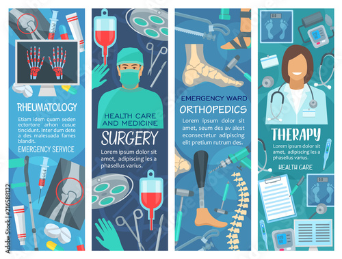 Hospital and clinic banners with medical tools
