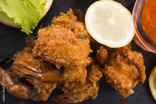 Fototapeta Tiger shrimp fried in Tempura with vegetables