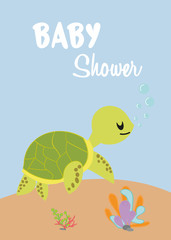 baby shower card with turtle. © Hanet