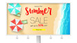 Billboard with sales action. Summer offer, get up to fifty percent discount. Seashore, sandy beach with deckchairs, sun umbrellas and design of text. Reduced prices, template for posters, banners. - 216594197