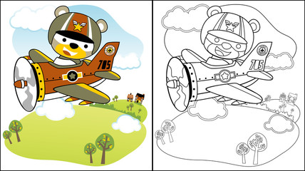Vector illustration of cute pilot on military plane, coloring book or page