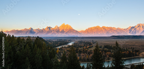 Foto Spatwand Zonsopgang Sunrise at Grand Teton National Park