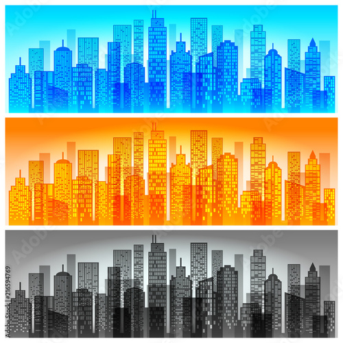 Modern city skyline colored, building silhouette in night time.