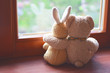 Leinwandbild Motiv Best friends teddy bear and bunny toy sitting on brown window sill hugging each other and looking out of window on vintage tone. Love, family and friendship background.