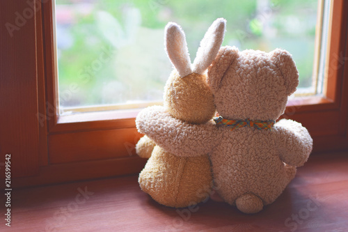 Best friends teddy bear and bunny toy sitting on brown window sill hugging each other and looking out of window on vintage tone. Love, family and friendship background. - 216599542