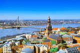 Panoramic view of the city of Riga, Latvia from the height of the tower Church of St. Peter - 216603710