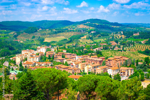 Landscape with old town, San Gimignano, Tuscany, Italy.