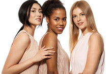 Portrait Of Three Cute Young Smiling Girls Of Different Nationalities Posing At Studio In Nude Dresses Happy Lovely Models Looking At Camera  Gladness    Sticker