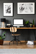 Wooden home office interior